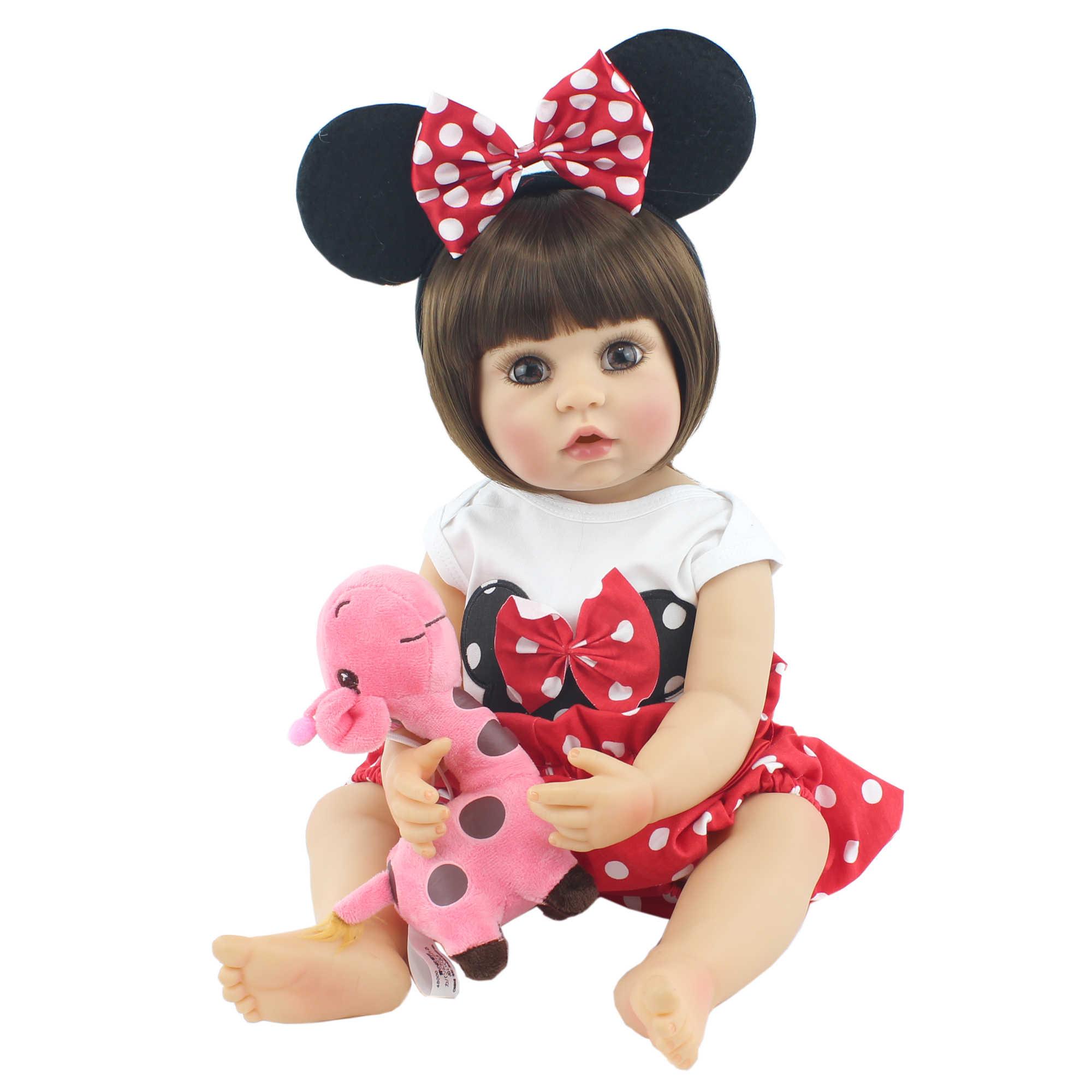 Bzdoll 55Cm Full Body Zachte Siliconen Reborn Baby Pop Speelgoed Levensechte Vinyl Levend Baby Dress Up Prinses Meisje Boneca verjaardagscadeau