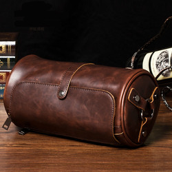 Hot Sale New Fashion Men's Leather Bags Small Shoulder Bag Cylindrical Shape Men Messenger Bag Crossbody Leisure Sling Bag