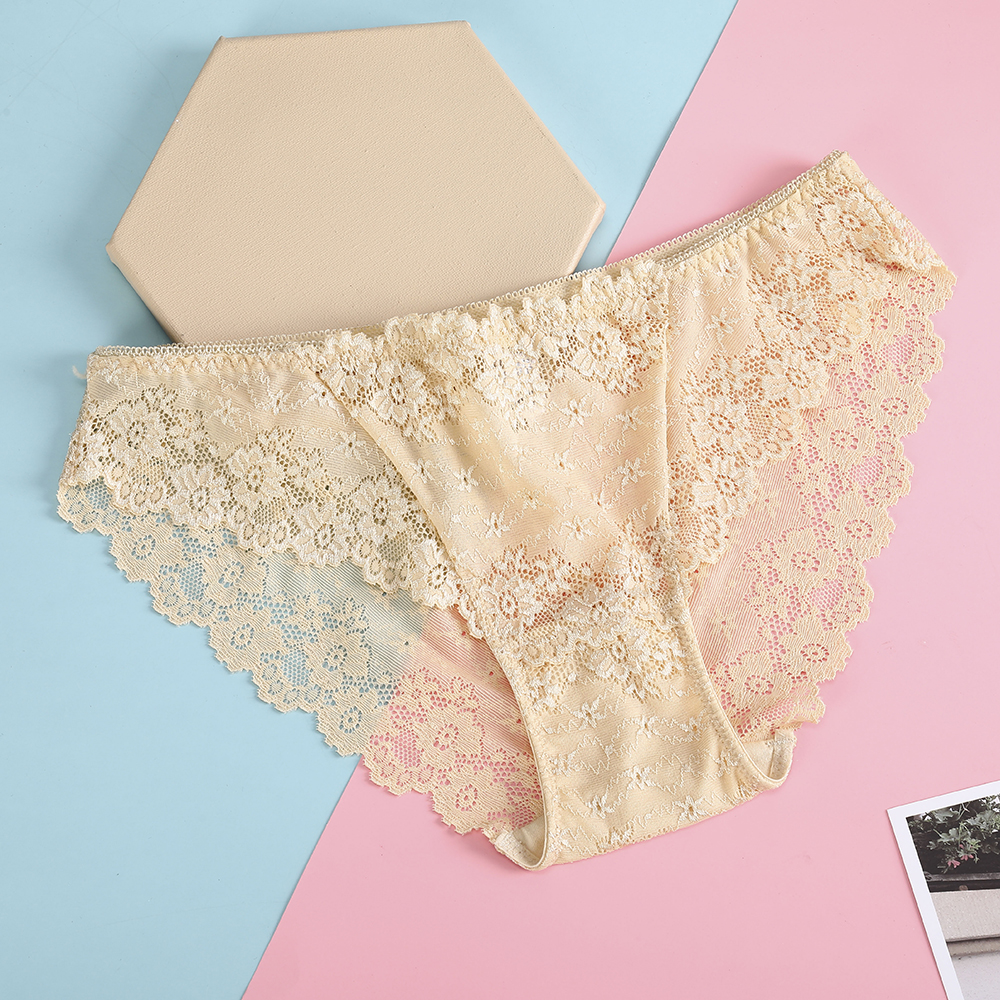 Bionek Lace Flowers Briefs Women Breathable Cotton Women's Underwear Panties Intimates Lingerie Female Solid Low Rise Knickers