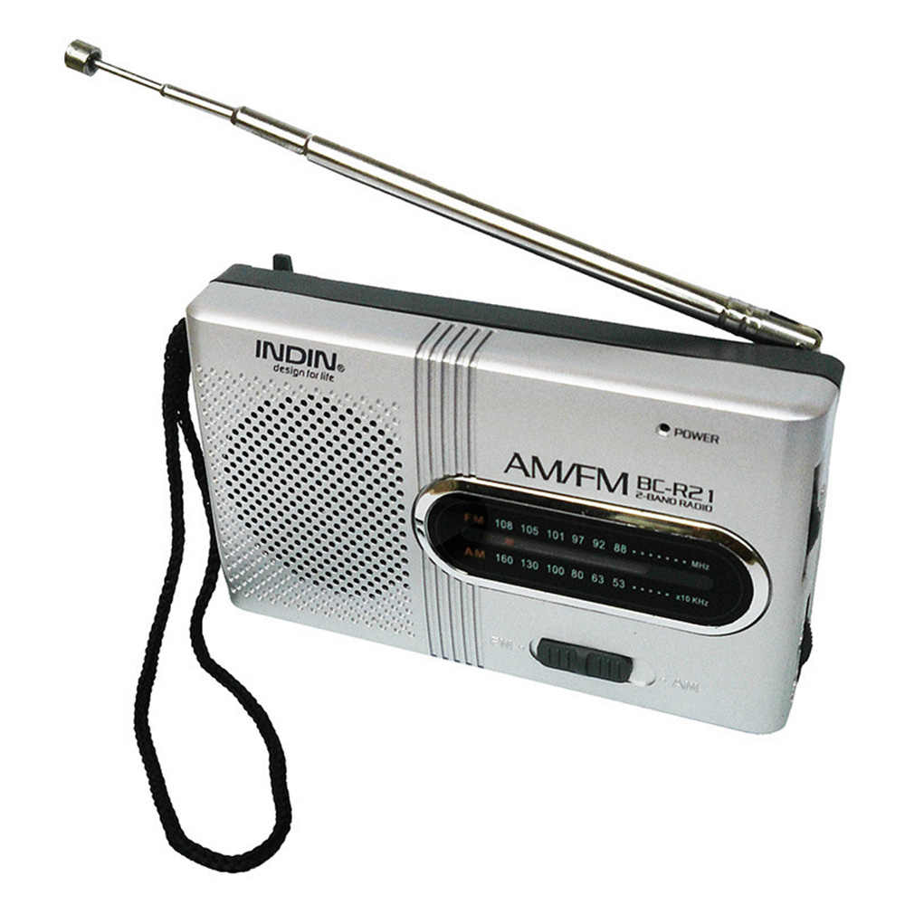 Radio AM/FM Dual Band Radio Receiver Portable Player Speaker Built-In dengan Standar 3.5 Mm Headphone Jack Perak abu-abu