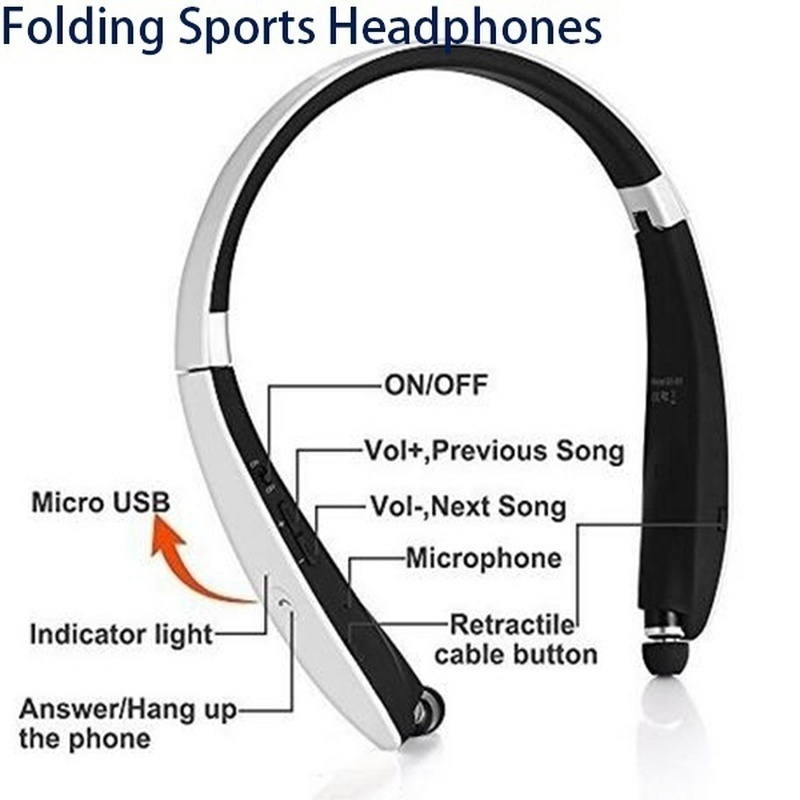 Newest Wireless Bluetooth 4.1 Earphone Headset Retractable and Foldable Neckband Style Headphones