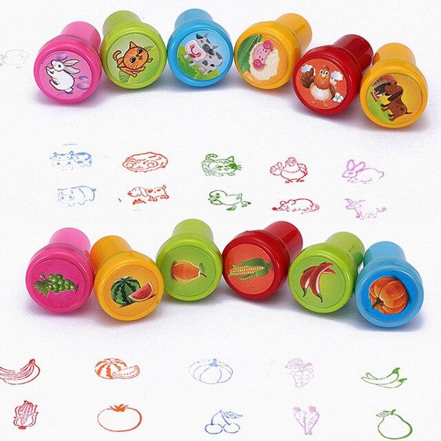 10 pièces/boîte enfants jouet caoutchouc timbres dessin animé animaux Fruits légumes enfants joint Album à faire soi-même Album Photo décor Stamper