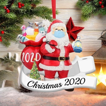 3D Resin Santa Claus Lantern Gift 2020 Christmas Ornament Pendant Family Gift Decoration Party Decoration Xmas Tree Ornament image
