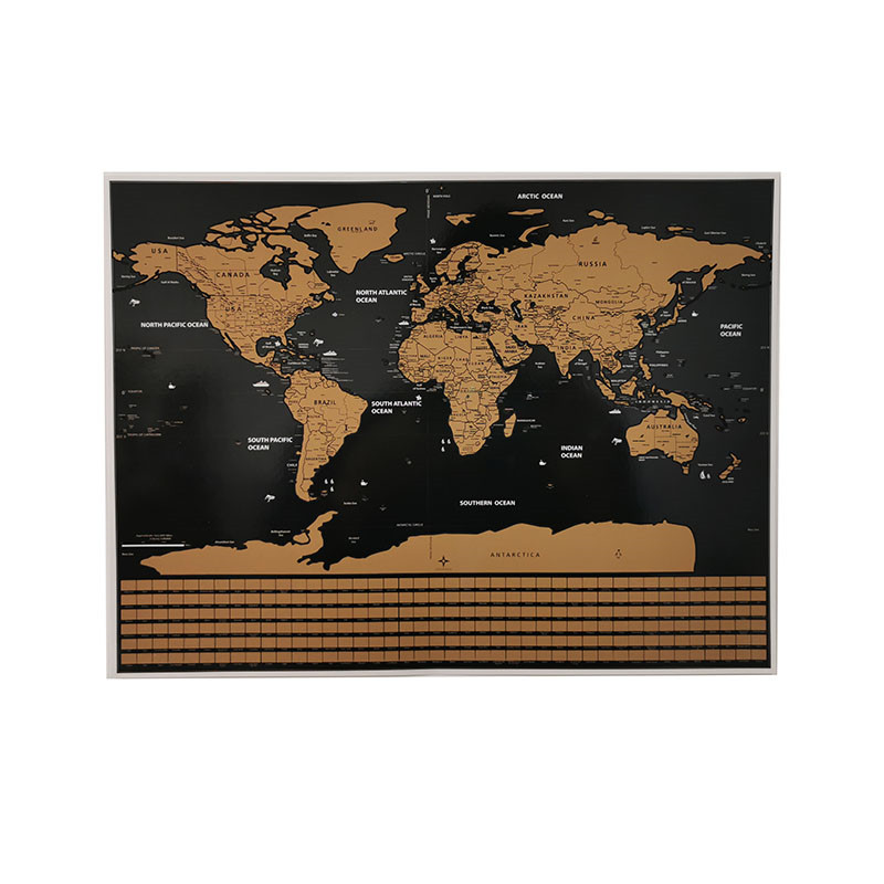 1 Pcs Scratch Map World Map National Flag Version 40 * 30cm Room Home Office Decoration Wall Sticker Student Teaching Poster