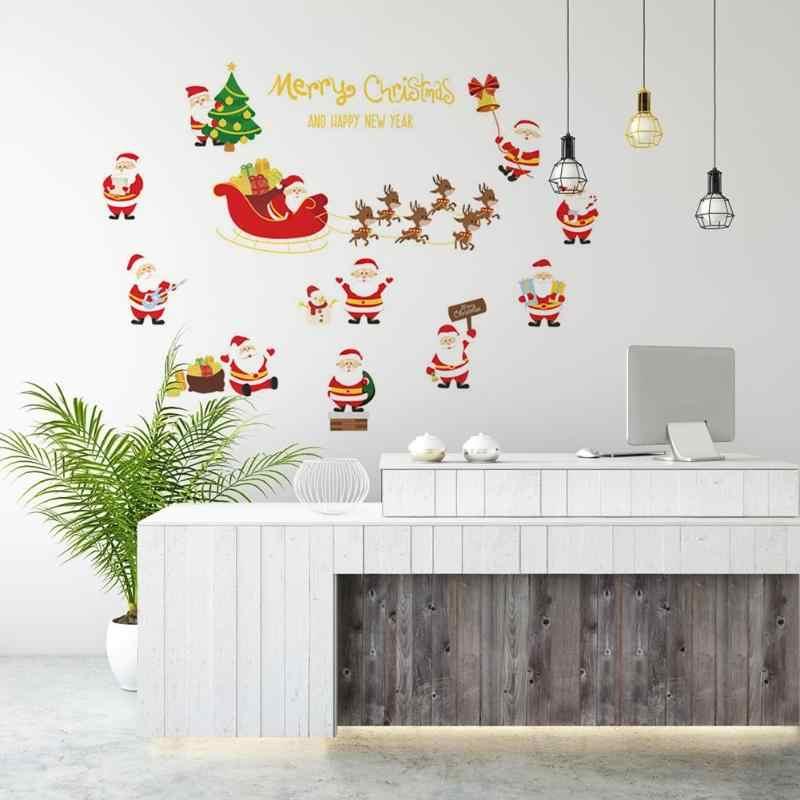 DIY Vrolijke Muursticker Vensterglas Kerst Kerstman Muurstickers voor Venster Showcase Glas Decals Home Decor