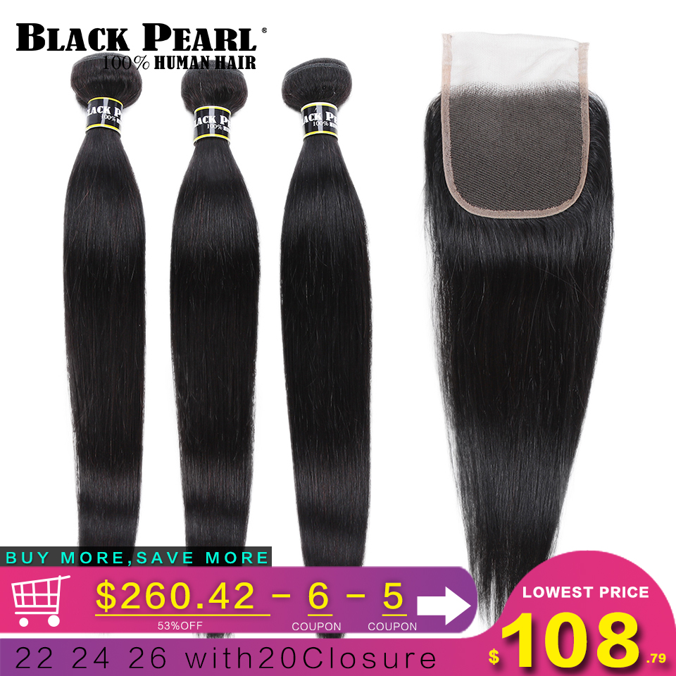 Black Pearl Pre-Colored 3 Bundles With Closure Straight Human Hair Bundles With Closure Brazilian Hair Weave Bundles