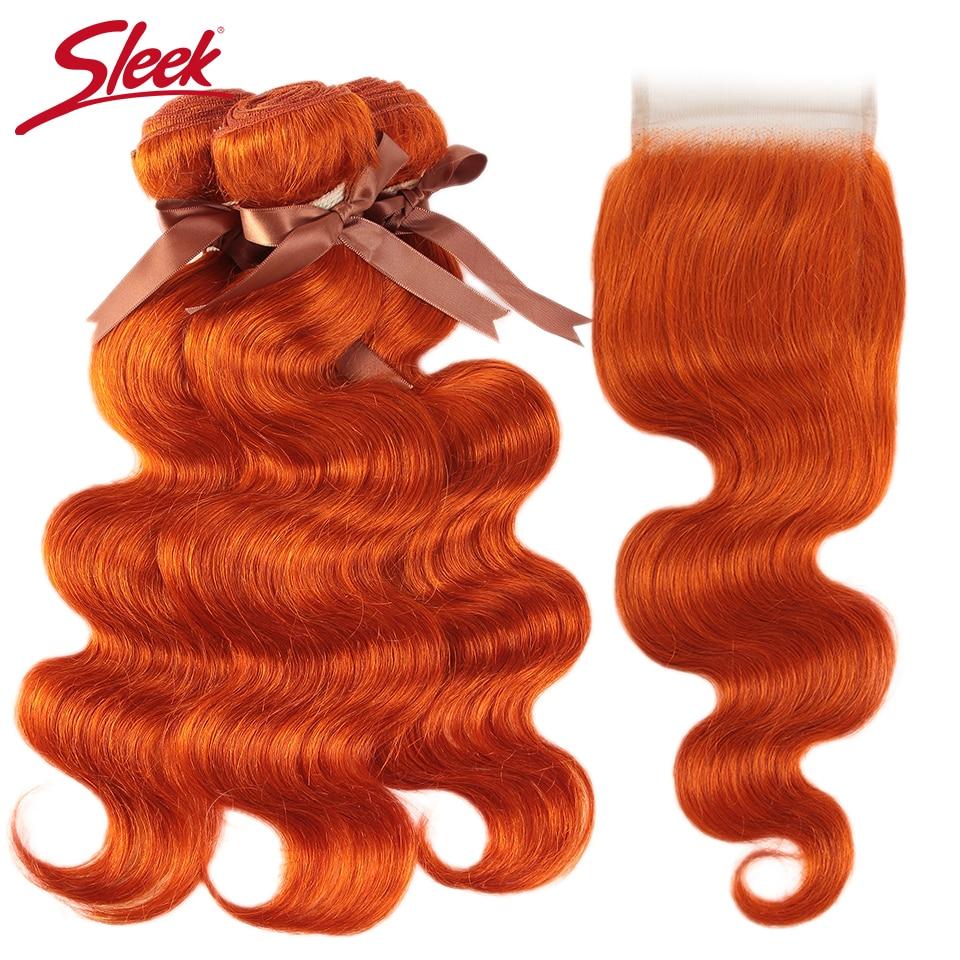 Sleek Orange Body Wave Bundles With Closure Brazilian Hair Bundles With Closure 8-28 Remy Human Hair 3/4 Bundles With Closure