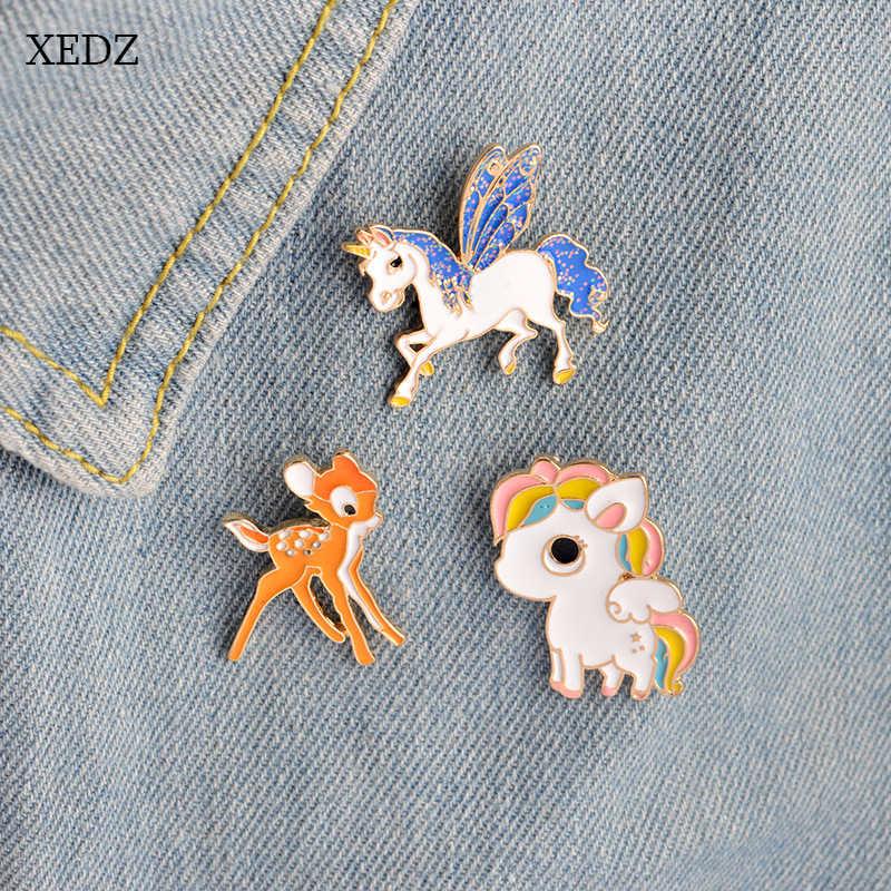 XEDZ Alla Moda di Fascino Dello Smalto Spille Gioielli Carino Animale Cavallo Unicorno Cervo Alce Spilla Distintivo Delle Donne Risvolto Spille s Collare Spille
