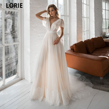 LORIE Cap Sleeve Boho Wedding Dresses Lace Appliques Champagne Dot Tulle Bride Gowns V-neck Backless Beach Wedding Party Gowns