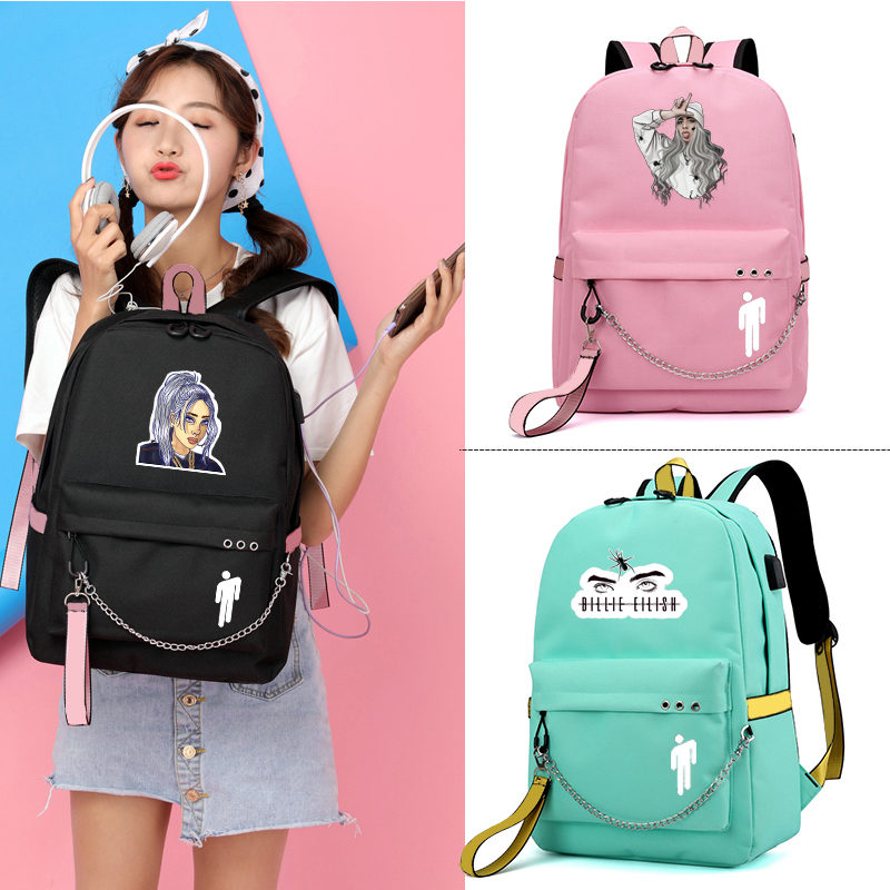 IMIDO Billie Eillish Backpacks Girls Usb Charging School Bag Candy Color Laptop Backpack For Students Back To School Bags