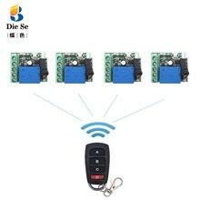 433MHz télécommande sans fil universelle pour porte Garage DC 12V 1CH relais récepteur Module 4 boutons télécommande RF commutateur