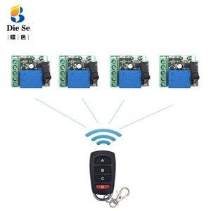 Image 1 - 433mhz universal sem fio de controle remoto para portão garagem dc 12v 1ch relé módulo receptor 4 botão controle remoto rf interruptor
