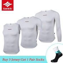 Santic oddychająca męska bielizna rowerowa Qucik sucha kamizelka sportowa krótka/koszulka z długim rękawem MTB Road Bike koszulka wierzchnia warstwy bazowe