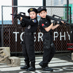 110-160cm Kinder Polizist Kleidung Set Karneval Halloween Cosplay Kostüme Spezielle Polizei Uniform für Jungen Kampf Armee Anzug