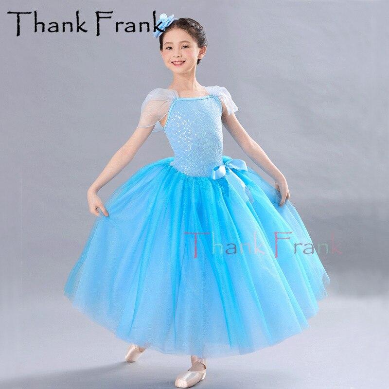 Longue robe de ballerine cendrillon princesse danse enfants robes de Ballet pour enfant femmes Costumes de danse lyrique filles Tutu Dancewear