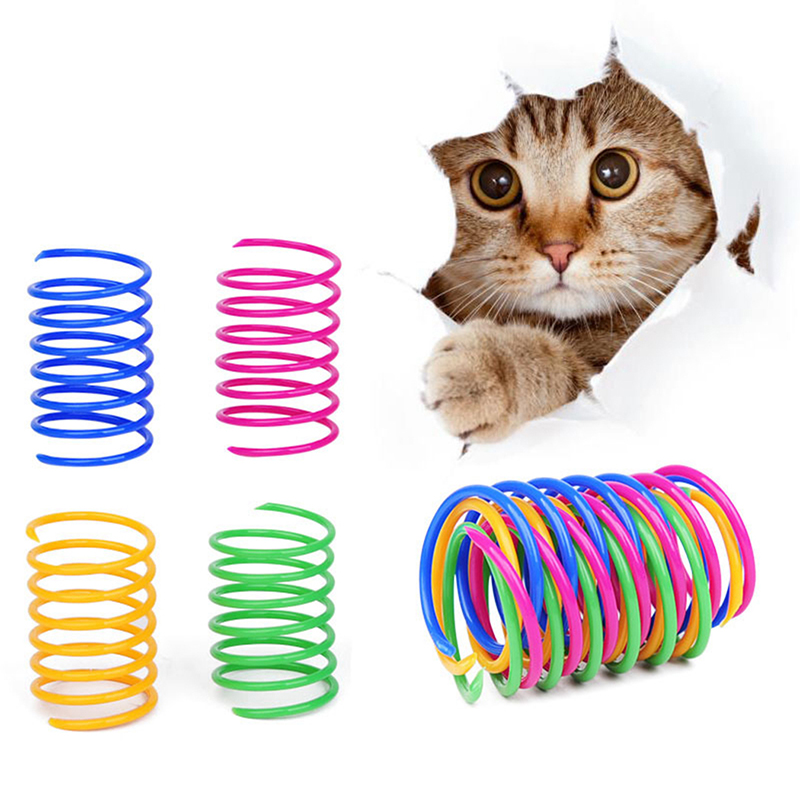 8PCS Cat Colorful Spring Toy Creative Plastic Flexible Cat Coil Toy Cat Interactive Toy Cat Funny Toy Pet Favor Toy Pet Product