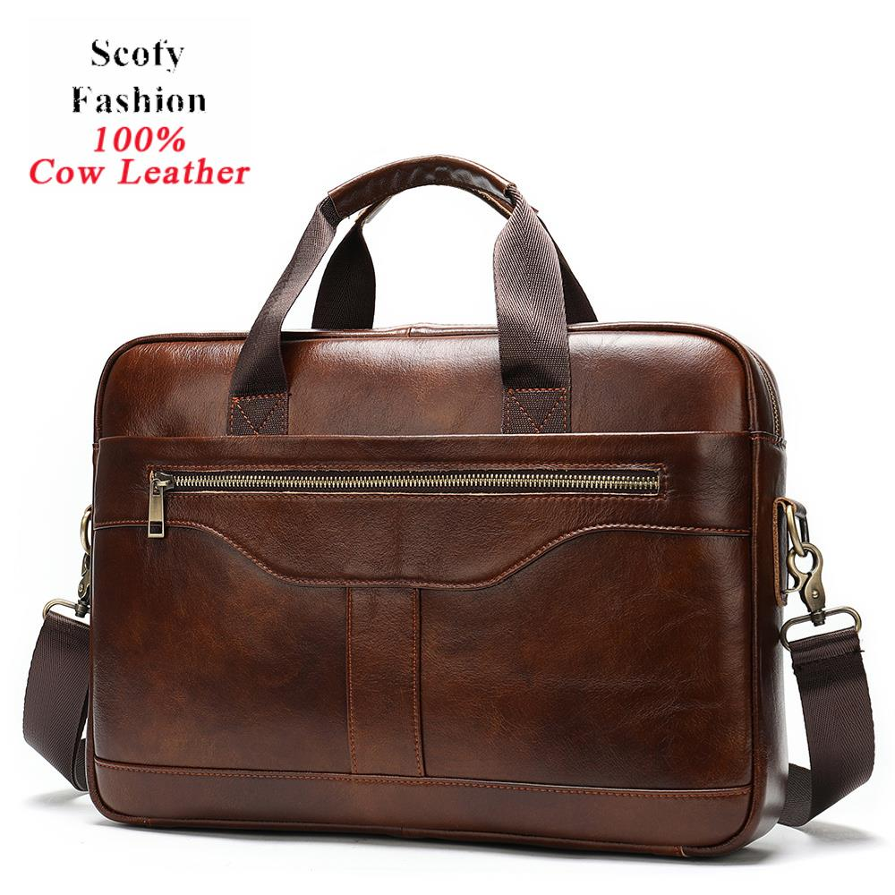100% Real Cowskin Men Computer Business Shoulder Bags Retro Solid Travel Laptop Briefcase High Quality Vintage Leisure Handbags