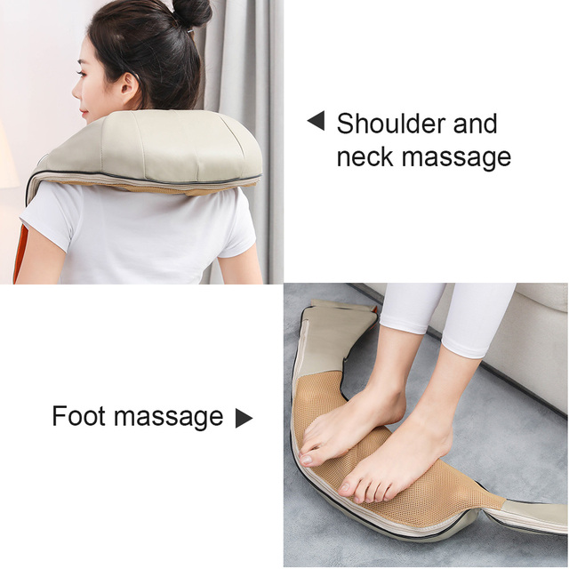 U Type Electrical Car/Home Massage Shiatsu Back Shoulder Neck Massager Multifunctional Shawl Infrared Heated Kneading Massager 2