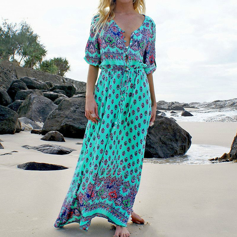 Vintage Floral Print V-neck Long Bohemian Beach Dresses