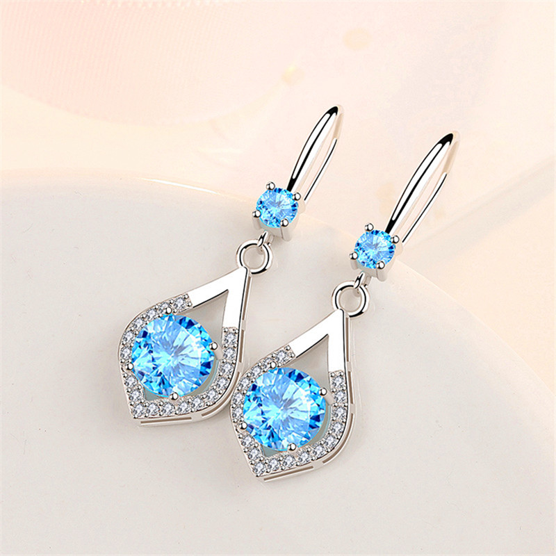 Simple Female Pink Blue Crystal Earrings Charm Silver Color Dangle Earrings Classic Bridal Round Wedding Earrings For Women