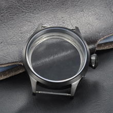 Watch Parts , Corgeut 43mm Stainless Steel Black PVD Case Fit for ETA UNITAS 6497/6498 Movement, Sapphire Glass Cases PC4302 цена и фото