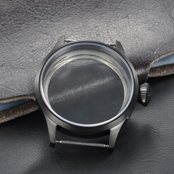Watch case 43mm 316 Stainless Steel Black PVD Case Fit for ETA UNITAS 6497/6498 Movement, Sapphire Glass Cases for mens watches new 45mm polished stainless steel case high quality hardened mineral glass fit 6497 6498 st 36 molnija movement watch case