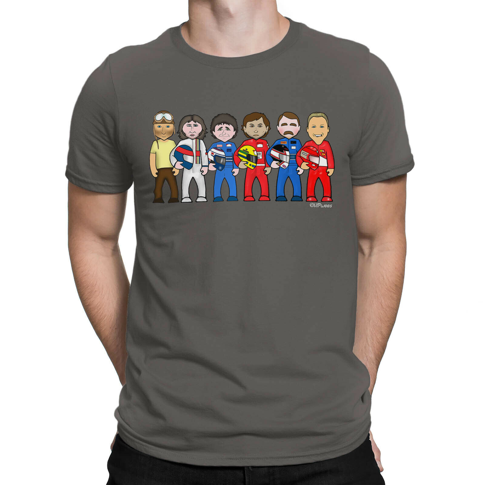 Mens Vipwees T-Shirt Formula 1 Legends F1 Motorsport Racing Caricature Gift Top Unisex Racing Tee Size S-3Xl