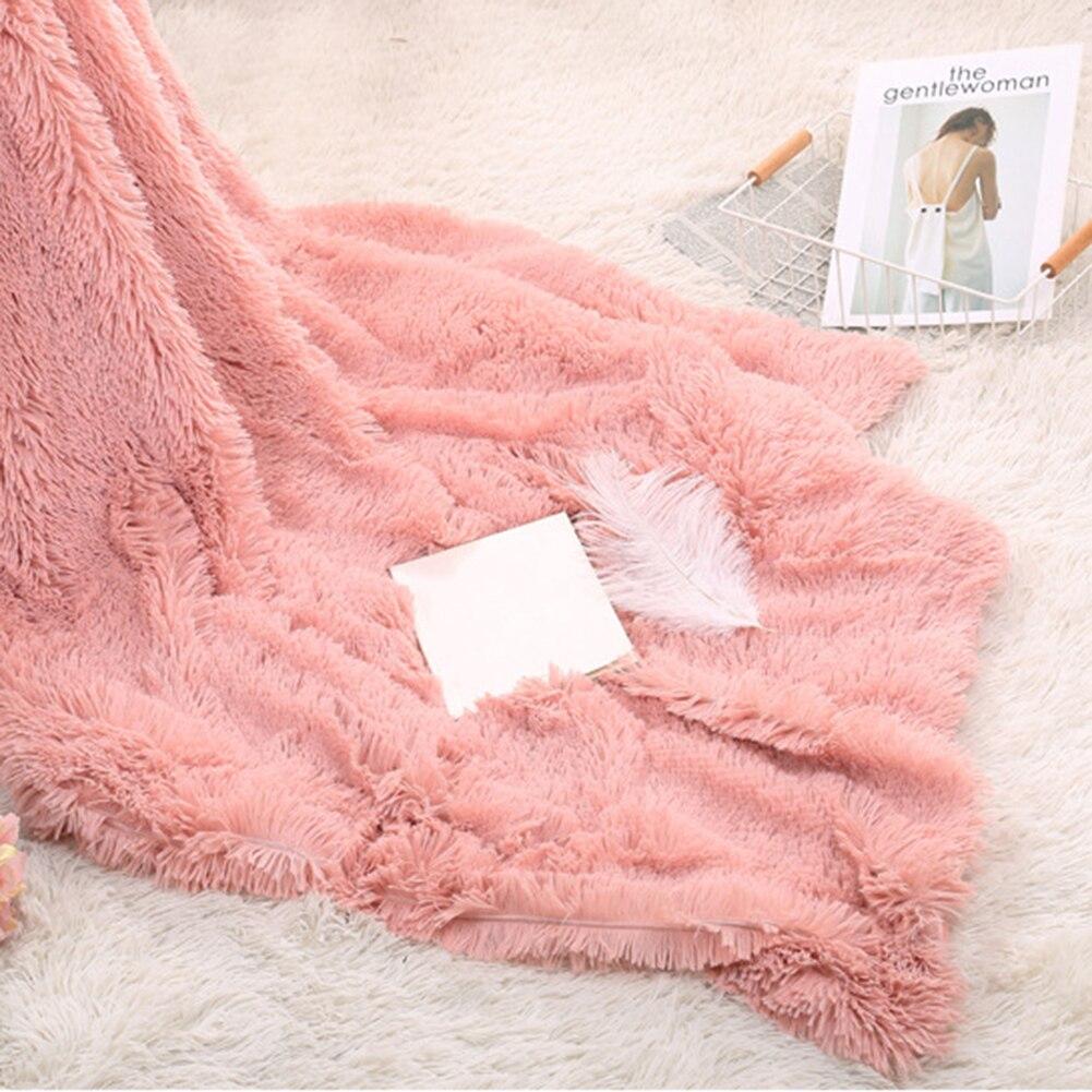 80x120cm Soft Fluffy Shaggy Warm Bed Sofa Bedspread Bedding Sheet Throw Blanket-3