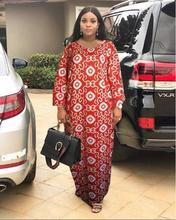 Fashion African Dashiki Long Dresses For Women Short Sleeve Casual Print Clothes