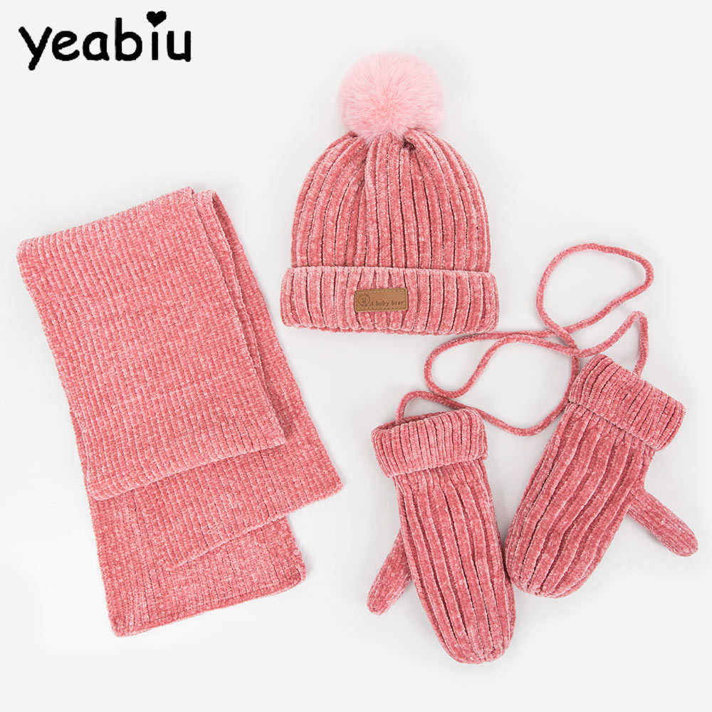 Baby Boys Girls Kids Winter Warm Hats Scarf Gloves 3pcs set Beanie Caps Mi #Buy