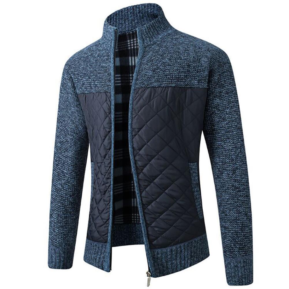 2021 Casual Men Autumn Zip Thick Knitted Sweater Pockets Warm Slim Cardigan Coat мужская куртка 2