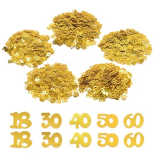 15g/bag Gold Sequins Number 18 30 40 50 60 Anniversary Decor Acrylic Confetti Table Scatters for Adult Birthday Party Decoration