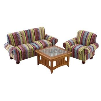 Dollhouse 1:12 scale Miniature furniture living room elegant chair Sofa 3pcs set