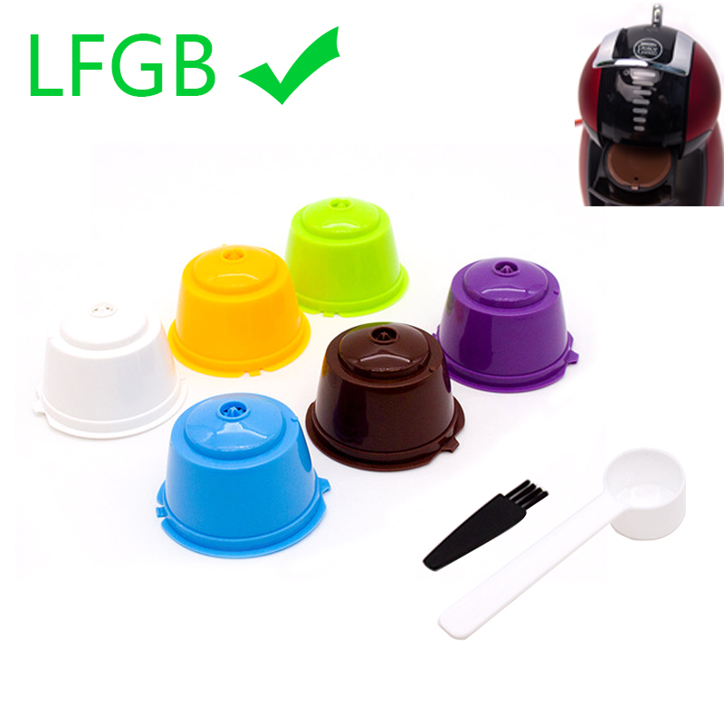 6 Pcs Reusable Coffee Capsule Filter Cup for Nescafe Dolce Gusto Refillable Caps Spoon Brush Filter Baskets Pod Soft Taste Sweet(China)
