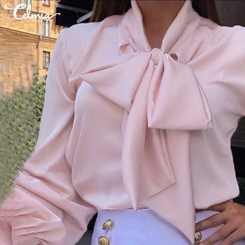 Celmia Elegant Office Korean Women Fashion Long Sleeve Shirts Satin Silk Vintage Blouse Bow Street Blusas Plus Size Tops S-5XL