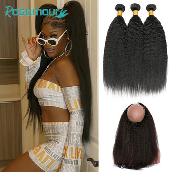 360 Lace Frontal With 3 Bundle Kinky Straight Hair With Closure Peruvian Human Hair Remy Hair Bundles With Closure Frontal image