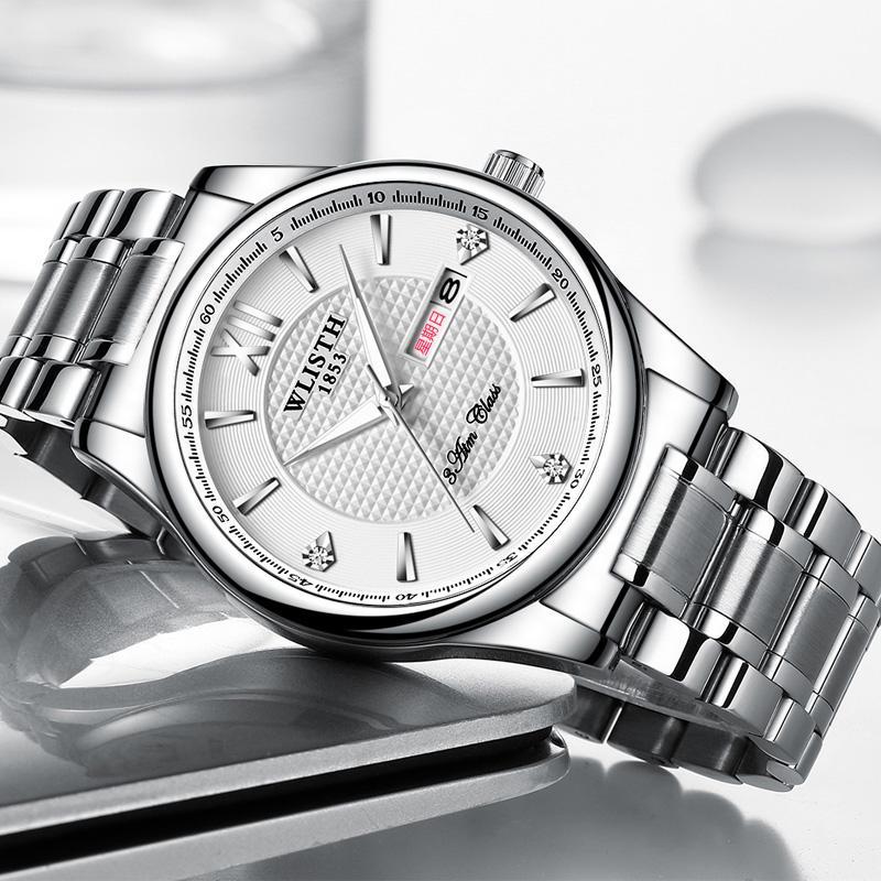 Men's Calendar Waterproof Couple Stainless Steel Band Belt Quartz Watch Men's Fashion Business Casual Women's Quartz Wrist Watch