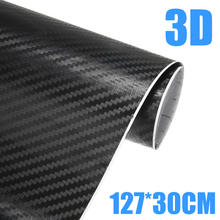 1pc 30x127cm 3D Carbon Fiber Vinyl Car Wrap Sheet Roll Film Car Stickers Decals Motorcycle Auto DIY Styling Accessories