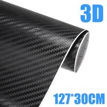 1pc 30x127cm 3d fibra de carbono vinil carro envoltório folha rolo filme adesivos decalques da motocicleta auto diy estilo acessórios