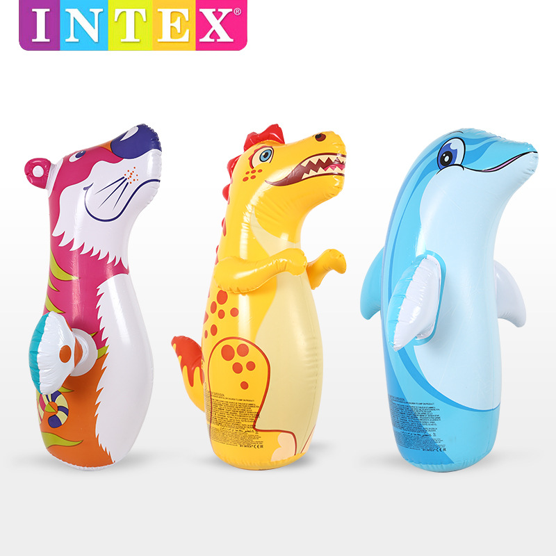 INTEX Inflatable Animal Tumbler Children Boxing Bag Toy Thick Inflatable Toy Fitness Early Education 3D Educational