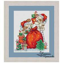 Dog christmas gift patterns counted cross stitch 11ct 14ct 18ct