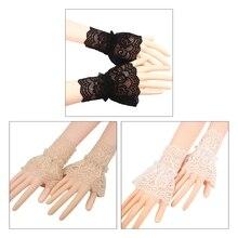Женский полый выход вязание крючком цветочные кружево запястье манжеты оборки съемный поддельный рукава стрейч браслет без пальцев перчатки