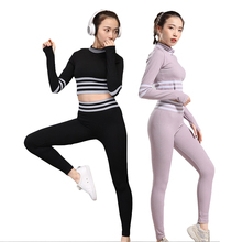 Yoga Serve Woman Bodybuilding Suit Motion Close Long Sleeve High Waist To Hip Self-cultivation Stripe Trousers