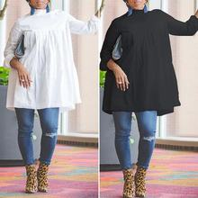 VONDA Plus Size Women's Shirts Dress 2020 Female Long Sleeve Blouse Tops Casual Loose Tops Spring Chemise Fashion Vestidos S-5XL fashion 11 color female chiffon shirts women summer casual top plus size s 5xl loose long sleeve thin and light chiffon blouse