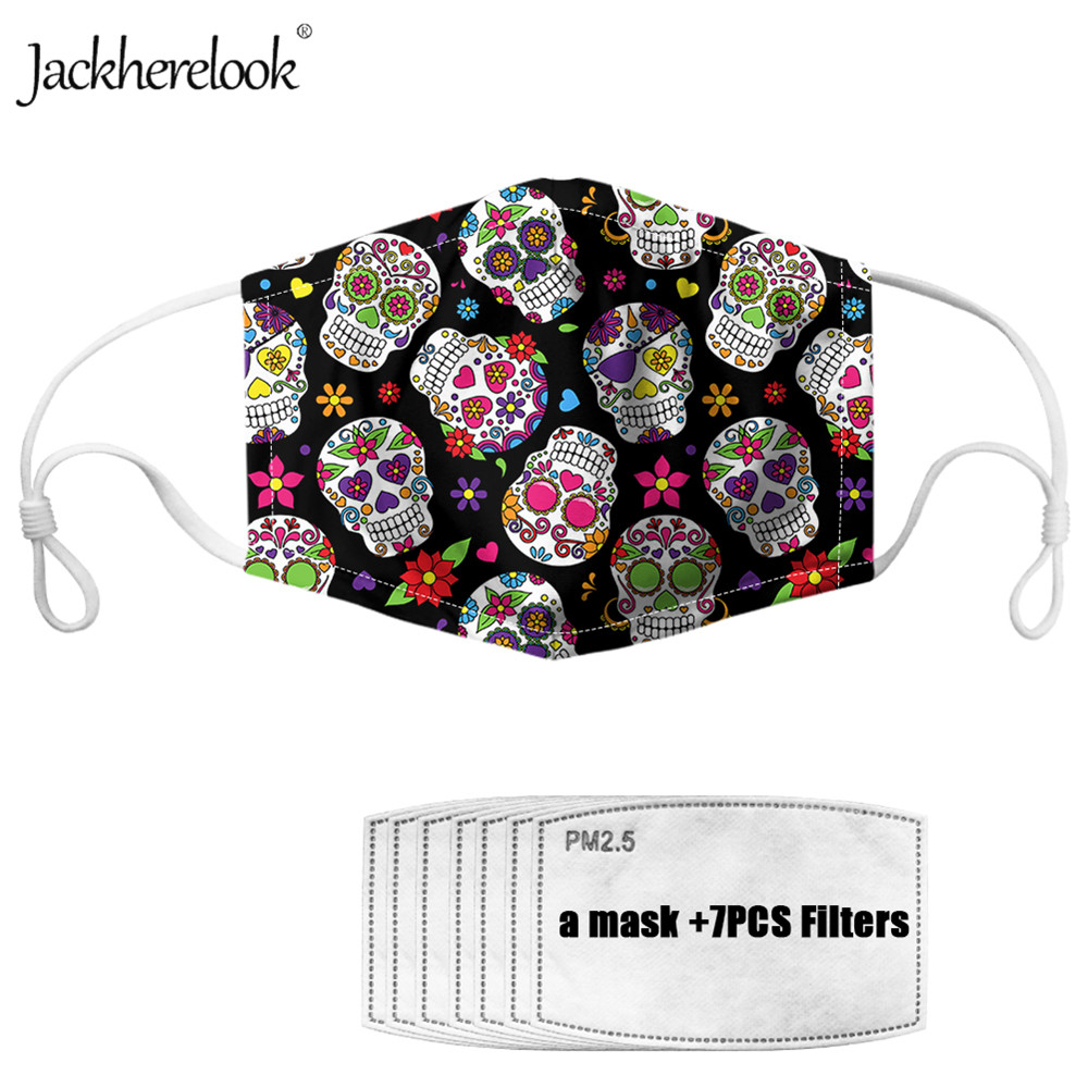 Jackherelook Dust-proof Mask For Women's Sugar Skull Print Anti Haze Bacteria PM2.5 Filters Paper 7PCS Unisex Gothic Mouth Masks