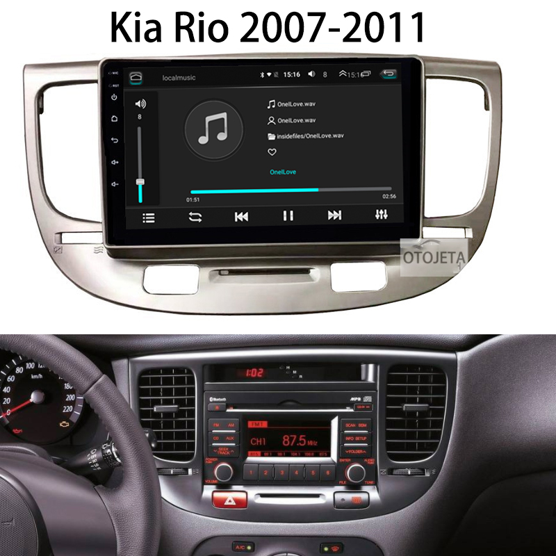 <font><b>Android</b></font> 9.1 Car Radio Super Slim Touch Screen GPS Navigation for <font><b>Kia</b></font> <font><b>Rio</b></font> 2007-2011 HEADUNIT tablet Stereo Multimedia Bluetooth image