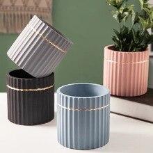 diy concrete succulent plant pot silicone mold cylindrical stripe design