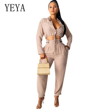 YEYA High Quality Ladies POLO Collar Split Fashion New Two Pieces Sets Button Pockets Jumpsuits Women Casual Autumn Playsuits