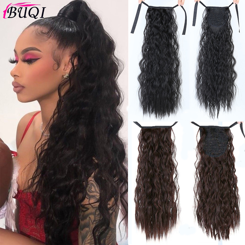 Buqi Long Curly Ponytail Hairpiece Heat Resistant Synthetic Hair Tail Clip Long Ponytail Clip Hair Extensions For Adult Women