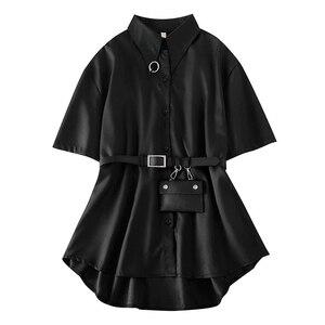 Женская Длинная блузка в стиле Харадзюку, элегантная Свободная блузка с поясом на талии и воротником-кольцом в готическом панк-стиле, Корей...
